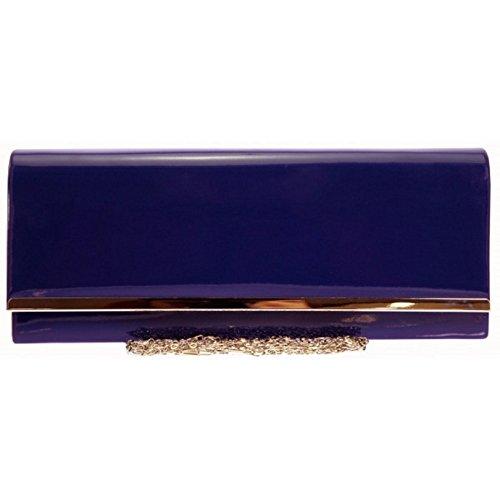 Fi9 ® cuir verni pour Mariage Sac à main pochette de soirée Party Sac à main Couleurs mélangées - Bleu roi