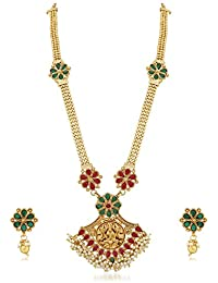 PALASH FLORAL DESIGNER GOLD PLATED LONG NECKLACE SET WITH LORD LAXMI FOR WOMENS