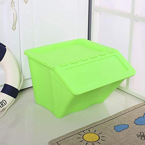Llhh Stapelbare Kinderaufbewahrungsbox, Kunststoffaufbewahrungsbox, Spielzeugaufbewahrungsbox, Küchenaufbewahrungsbox-Nachttisch,Green (Stapelbar Spielzeug Bins)