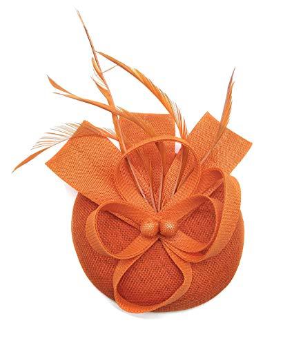 Coolwife Fascinators Sinamay Hut Damen Feder Pillbox Derby Tea Party Hut (Orange) (Grüne Derby Kind Hat)