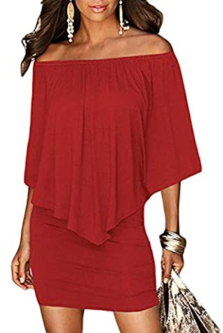 FIYOTE Womens Sexy Off Shoulder Ruffles Bodycon Mini Dress Medium Red