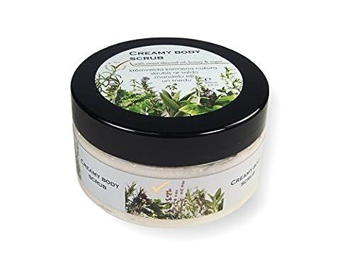 Natural Body Scrub with Sweet Almond Oil, Honey & Sugar, Exfoliate & Moisturize Skin, 200ml