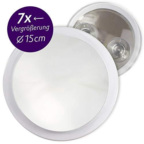 Fantasia Kosmetikspiegel mit 7-fach Vergrößerung, Premium Schminkspiegel Ø 15cm rund mit Saugnapf, Acryl Make-Up-Spiegel für zuhause und unterwegs, innen Ø 12, 5cm