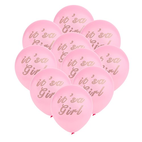 MagiDeal 10pcs It's a Girl Luftballons in Pink/Rosa - Latexballons für Luft oder Helium als Geschenk zur Geburt eines Mädchen, Baby Taufe Party Deko