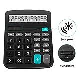 Calcolatrice, Calcolatrice da Tavolo, Calcolatrice elettronica solare grande e funzionamento a batteria, 12 cifre, Ampio Schermo LCD, Pulsante grande, Calcolatrice standard