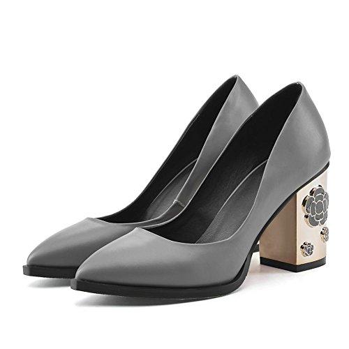 Femmes Glisser sur Cuir Unique Tribunal Chaussures Métal Bloc Haute Talon Pointu Doigt de pied Noir Gris Pompes Travail Entreprise Carrière Gray