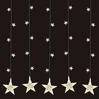 Multistore 2002 LED Sternenvorhang 105x100cm mit 100 LED-Lichter warmweiß weihnachtlicher Lichtervorhang Weihnachtsdekoration Dekoleuchte Dekolicht Lichterkette Stern