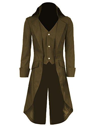 teampunk Vintage Frack Jacke Gothic viktorianischen Frock Mantel Uniform Kostüm (Gelb, XXL) (Gelbe Jacke Halloween-kostüm)