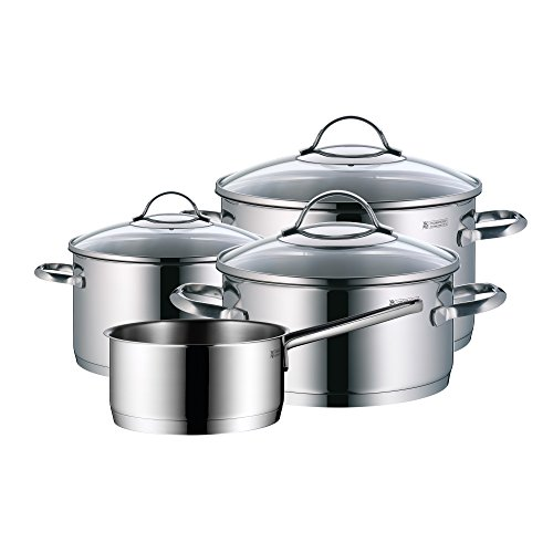 WMF Pot Set 4-Piece Provence Plus Pouring Rim Glass Lid Cromargan Stainless Steel Polished Suitable for Induction Hobs Dishwasher-Safe