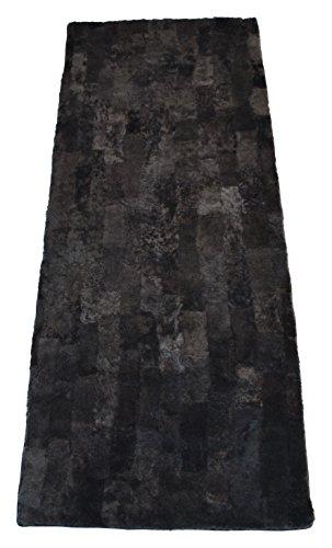 Sesselauflage Fellplatte aus echtem Lammfell / Schaffell Patchwork 150x60cm (Schiefer)