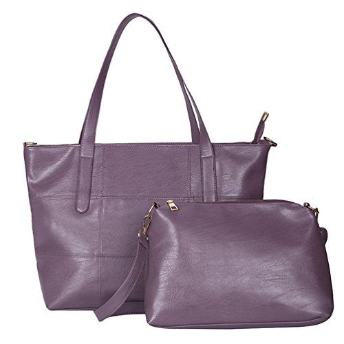 Anguang Damen Taschen Set PU Leder Schultertasche Tragetasche Handtasche Umhängetaschen Lila