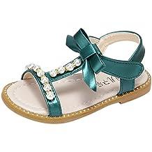 Fossen Verano Niñas Sandalias de Bowknot Pearl Crystal Bohemia Princess Zapatos,Talla ...