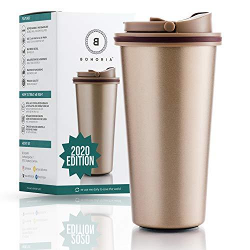 BOHORIA® Premium Edelstahl Kaffee-to-Go-Becher 2020 Edition | Thermo-Becher | Isolierbecher - Vakuumisoliert - 500 ml | Reise-Becher für Kaffee - Autobecher Travel Mug (Classic Gold)