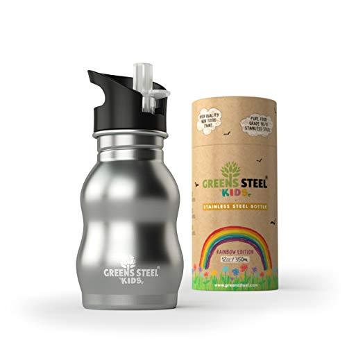 Botella de agua de niño - 350ml Botella a prueba de fugas Tapa con Pitillo - bebe niños cantimplora de acero para niños (acero inoxidable)