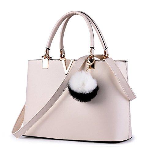 Baymate Ms. Beutel V-portable Mode-Hand einfache Schulter Elegant Handtasche Schultertasche Weiß