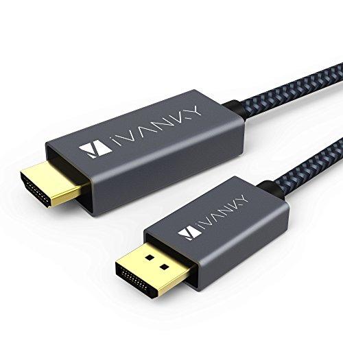 bel, DisplayPort auf HDMI Kabel 2M geeignet für HP, HDTV, Lenovo, Grafikkarten, AMD, NVIDIA, ThinkPad und mehr - Grau (Verschlussfrei & aus Nylongeflecht) ()