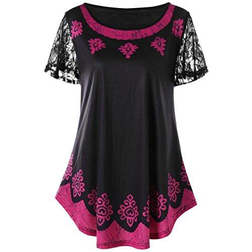 VEMOW Kommende Grace Damen Mädchen Frauen Casual Täglichen Arbeit Oansatz Spitze Plus Size Tribal Print T-Shirt Tops Bluse Pullover Tees Pulli(Lila, EU-52/CN-4XL) -