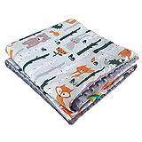 75x100cm Minky Babydecke Kuscheldecke Krabbeldecke Decke Super weich und flauschig Handarbeit (Tiere Wald Dunkelgrau)