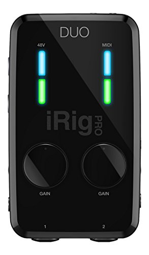 IK Multimedia iRig Pro Duo Interfaccia Audio/Midi doppio canale per Smartphone Android, iPhone, iPad, Mac e PC, Nero