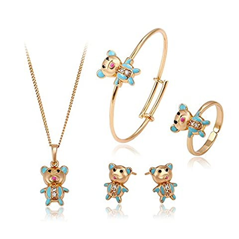 XUPING Colour-plated Or 18 K Forme de Ours Boucles d'oreilles Collier Bague Bracelet Mode Enfants Bijoux