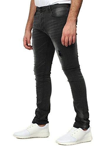 Free Side Herren Jeans BORDEAUX Slim Fit Destroyed Vintage Look Five Pocket Anthrazit