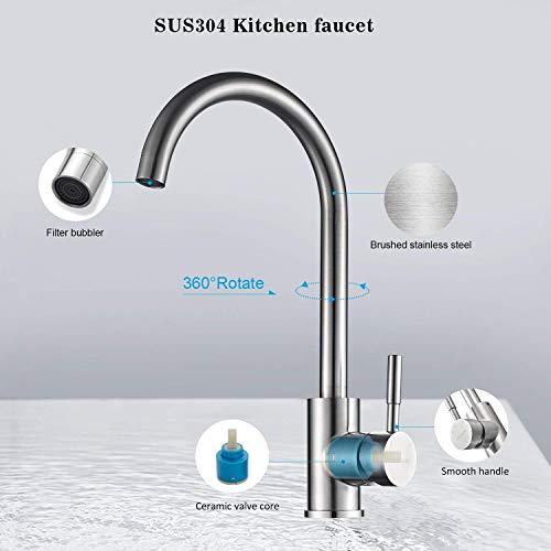 Kinse® Elegant Gebürstet Silber Küchearmatur Mischbatterie Spültischarmatur aus Edelstahl SUS304 mit ABS Bubbler Kann Wasser 30% Sparen für Küche Waschbecken - 5