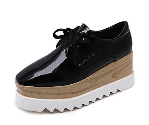 Frau flache Schuhe Muffin mit schweren Boden Schuhen quadratischen Kopf Retro-Schuhe Aufzug Schuhen Frau Herbst Black