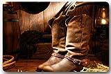 YESLIY American West Rodeo Cowboy schwarz Filz Hat auf getragen Western Stiefel Boots Vintage Stil Rechteck Eingänge rutschfeste Fußmatte Fußmatte–59,9cm (L) X 39,9cm (W), 3/16Dicke