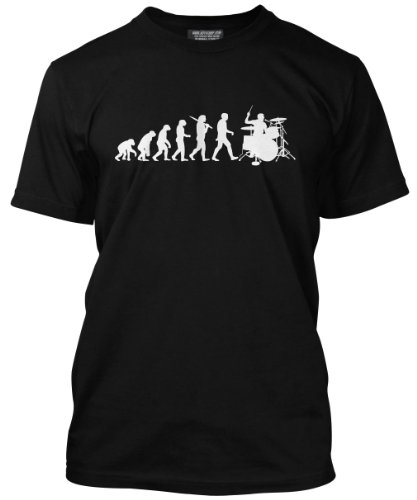 Evolution of a Drummer Mens Black Drumkit T-Shirt (Medium)