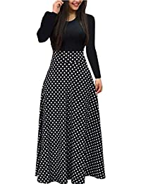 a730c90bd97 Abolai Women Boho Maxi Dress Casual Irregular Solid Pocket Party Loose Long  Sleeve Cotton Viscose Dress