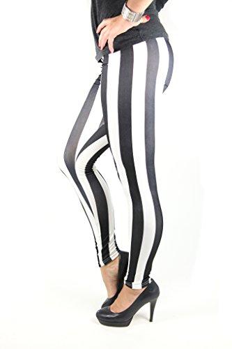 Sexy Damen Leggings Schwarz-Weiß gestreift Zebra Größe S - L