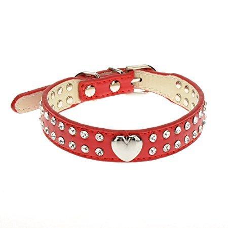 Hippolo Hundehalsband, glitzernd, Herz-Design, Leder, für kleine und mittelgroße Rassen, verschiedene Farben rot XS (Herz-dog Harness)
