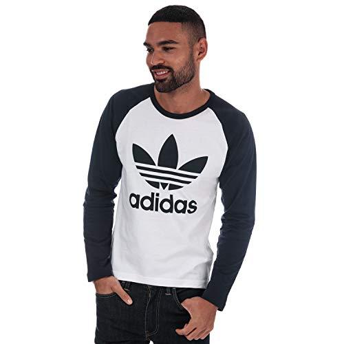 adidas Herren Trefoil Langarm T-Shirt, White/Legend Ink, M -