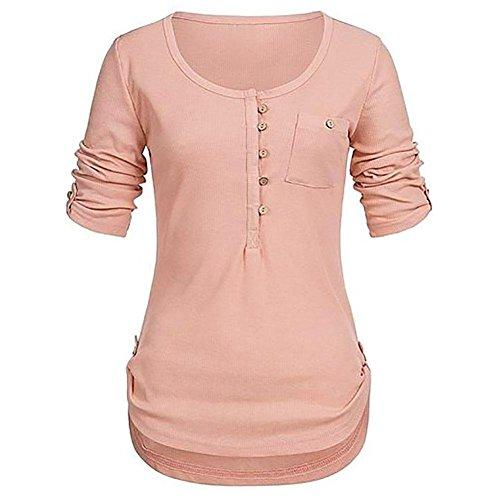 BHYDRY Frauen Damen Solide Langarm Knopf Bluse Pullover Tops Shirt Mit Taschen(S,Orange)