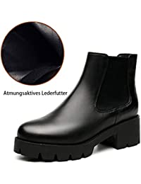 HYLFF Womens Chelsea Ankle Boots,Ladies Faux Leather Ankle Boots Black Brown with Pull On Elasticated Tab Low Block Flat Heel Pointed Leather Booties
