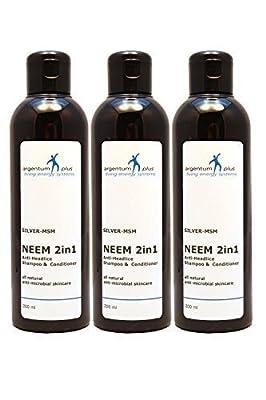 argentum plus- Silver-MSM Neem 2in1 Anti-Headlice Shampoo 3 x 200 ml from Living Energy Systems Ltd