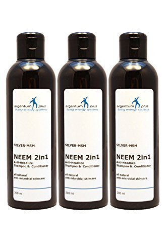 Champú y Acondicionador Neem 2en1 anti-piojos de la cabeza Plata-MSM - 3 x200 ml