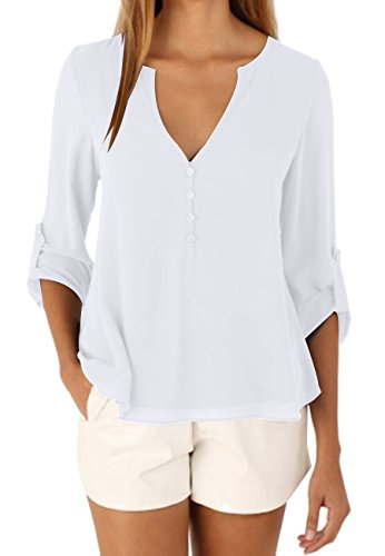 OMZIN Damen Blusen V Ausschnitt Basic Tops Henleyshirt Langarm Casual Loses Shirt XXL