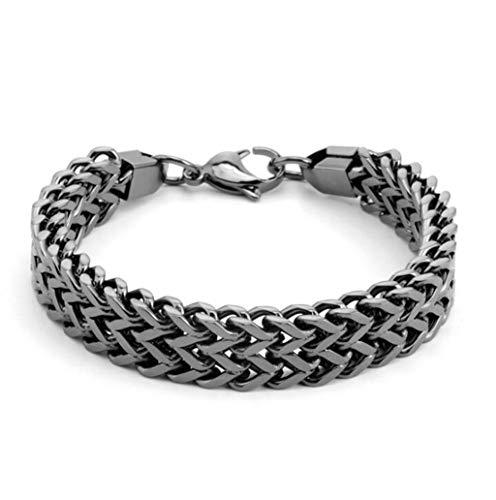 Magnetische Armband Sterling Silber Armband einfache Retro alte handgemachte Twist geflochtene Eröffnung Schmuck for Vater und Freund (Color : Black)