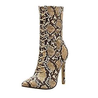 Amcool Damen Stiefel Pumps Fashion Schlangen Spitzen High Heel Stiletto Schnürstiefel High Heels