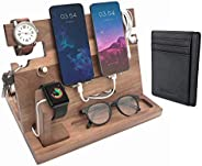 Eterluck Wooden Docking Station Men, Charging Station, Key Holder, Cell Phone Stand, Tablet Stand, Charging Do