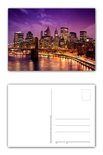 12 Stück Postkarten New York City Skyline im Sonnenuntergang mit der Brooklyn Bridge über den East River im Vordergrund Format: DIN A6 / 105 x 148 mm (PKT-108) (Postkarte Brooklyn Bridge)