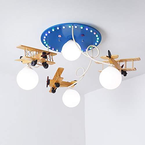 Iluminación de techo de interior Nordic aviones lámpara de techo para niños 4 fuente de luz led lámpara de madera maciza lámpara de estudio lámpara de dibujos animados niño sala lámpara IKEA lámparas