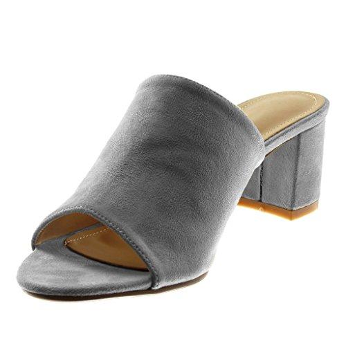 Angkorly Scarpe Moda Sandali Mules Slip-On Donna Moderno Tacco a Blocco Alto 5.5 cm Grigio
