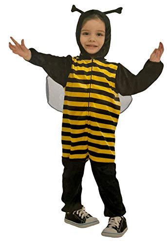 Brandsseller Kinder Bienen Kostüm Overall mit Kapuze Verkleidung Fasching Karneval - Schwarz-Gelb XS 3-4 Jahre (Bienen Kostüm Kinder)