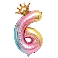 Armilum Toys 32 inch Giant Foil Numbers Digital Balloons Birthday Party Supplies Decoration Digital Ballons Number 0-9 with Mini Crown