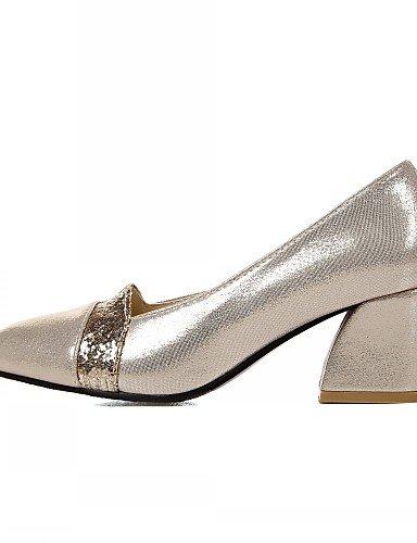 WSS 2016 Chaussures Femme-Bureau & Travail / Habillé / Décontracté-Noir / Argent / Or-Gros Talon-Talons-Talons-Similicuir silver-us5 / eu35 / uk3 / cn34