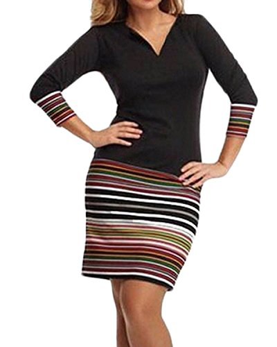 ZANZEA Femme Sexy Slim Rayé Epissage Col V Manches 3/4 Cocktail Moulante Robe Noir