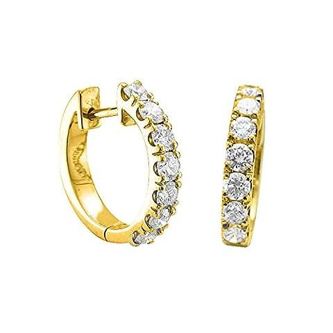Diamant Delight Veste de 10K & Huggies Boucles d'Oreilles Créoles (VS1-VS2, 1carat)