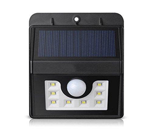HH-TEC Solarleuchte 8 LED Solarlampe Wasserdichte Solar Betriebene Außenleuchte Sicherheits-, Bewegungs Licht Sensor mit 3 Intelligenten Modi
